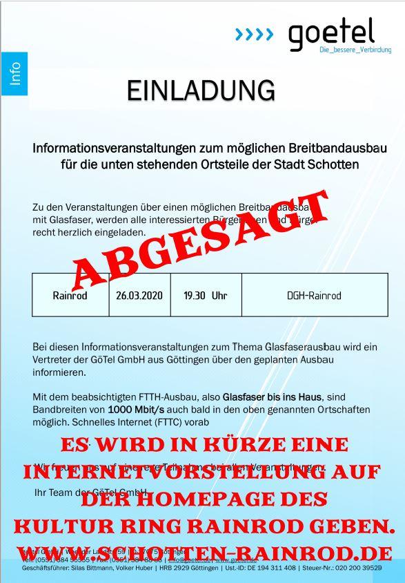 Goetel Infoveranstaltung abgesagt